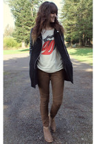 ivory shirt - brown boots - black coat - dark brown striped pants