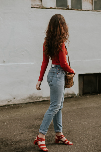 red Marais heels - sky blue ReDone jeans - ruby red Zara t-shirt