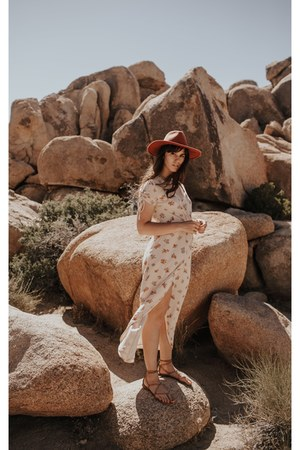 eggshell madewell dress - burnt orange free people hat