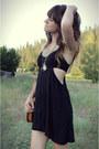 Black-dress-turquoise-blue-fringe-cardigan