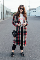 ruby red Zara coat - black Frame jeans - white Reformation shirt