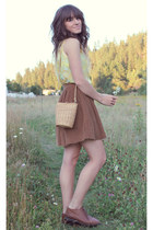 dark brown vintage bag - brown vintage skirt - light yellow vintage top