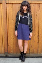 navy polka dot Gap dress - black leather like obey jacket