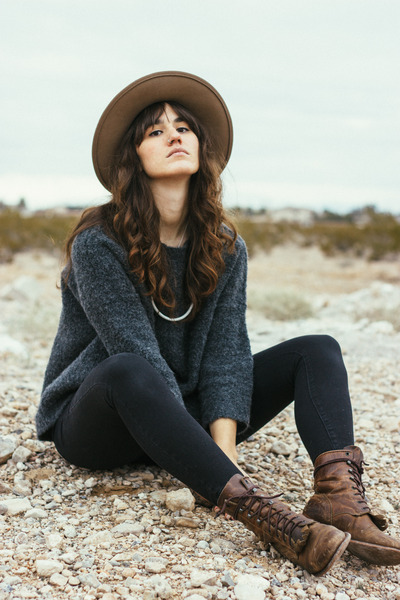 gray Lou & Grey sweater - dark brown vintage boots - black Lou & Grey jeans