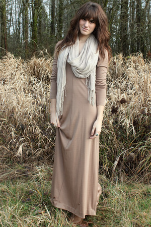 off white H&M scarf - camel boots - tan vintage maxi dress