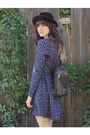 Deep-purple-vintage-dress-dark-brown-vintage-hat-brown-vintage-bag
