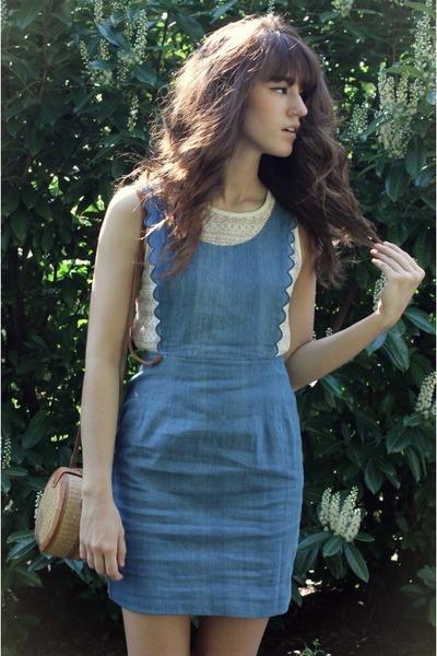 sky blue jean Dahlia dress - camel vintage bag - off white lace top