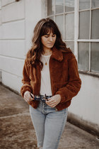 brown Urban Outfitters coat - brown free people boots - sky blue Levis jeans