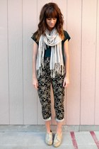 black floral Ralph Lauren pants - beige H&M scarf - teal cropped top
