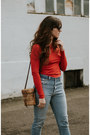 Sky-blue-redone-jeans-ruby-red-zara-t-shirt-red-marais-heels