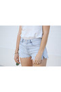 Sky-blue-redone-shorts-off-white-reformation-top