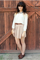 ivory blouse - neutral American Apparel skirt - dark brown vintage belt