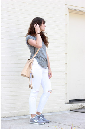 white Missguided jeans - nude free people bag - silver New Balance sneakers