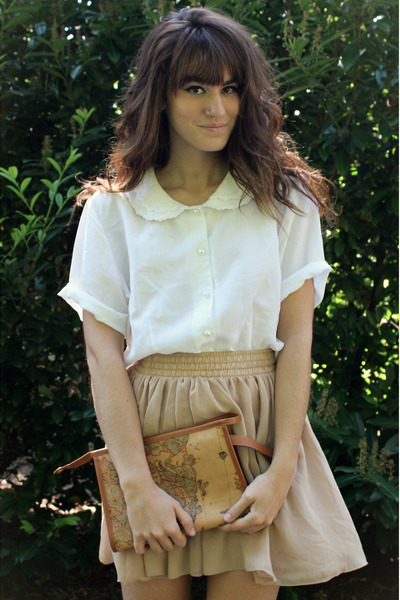 brown bag - camel American Apparel skirt - white top