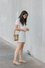 Light-blue-urban-outfitters-skirt-white-topshop-top-camel-matisse-sandals