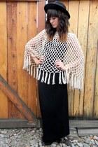 eggshell crochet vintage cape - black Forever 21 dress