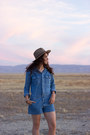 Light-brown-urban-outfitters-hat-blue-denim-forever-21-romper