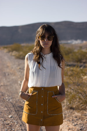 brown Nasty Gal skirt - dark brown Jeffrey Campbell boots - ivory Nasty Gal top