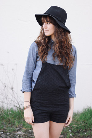 black free people hat - black overalls shorts - blue J Crew top