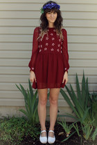 ruby red dress - blue diy accessories - white flats