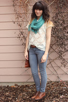 off white vintage lace top - heather gray volcom jeans - teal scarf