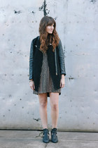 black Jeffrey Campbell boots - black free people dress