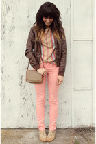coral jeans - camel le bunny bleu shoes - dark brown Mossimo jacket - tan top