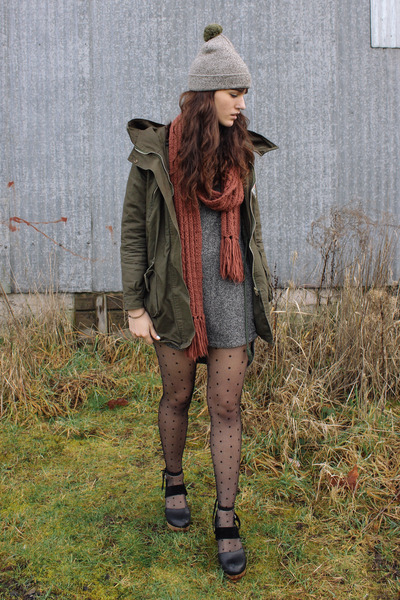 olive green Poler hat - gray MinkPink dress - army green Sheinside coat