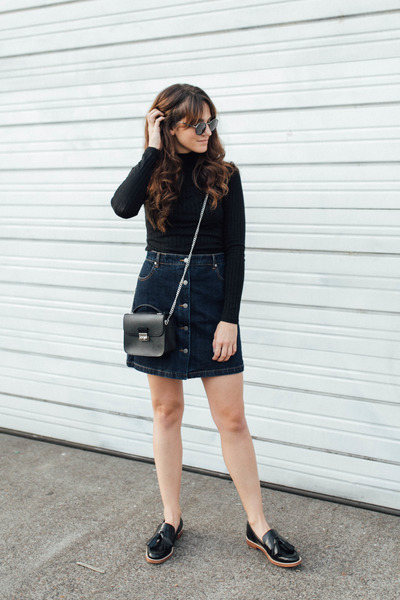 black shoescom Kelsi Dagger shoes - navy Grana skirt - black Topshop top