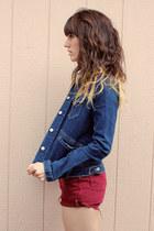 navy vintage Levis jacket - maroon vintage Levis shorts - white polka dot blouse
