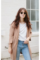 camel Blq Basiq coat - sky blue citizens of humanity jeans - white Zady t-shirt