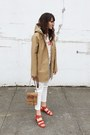 Tan-stutterheim-coat-red-marais-heels
