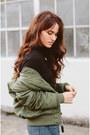 Navy-frame-jeans-olive-green-alpha-industries-jacket