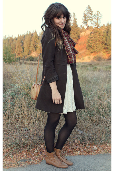 maroon vintage scarf - bronze vintage boots - ivory free people dress