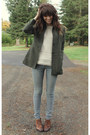Beige-forever-21-sweater-dark-brown-vintage-shoes-army-green-thrifted-blazer
