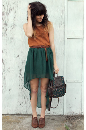 high-low from Romwe skirt - diy bag - lace Forever 21 top