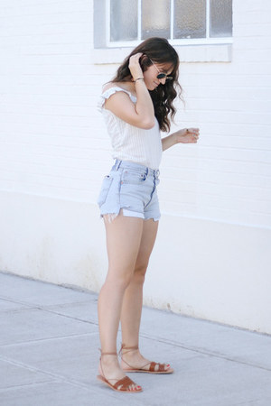 sky blue ReDone shorts - off white Reformation top