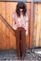coral vintage shirt - dark brown vintage shoes - burnt orange MinkPink coat