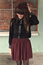 crimson American Apparel skirt - black polka dot romwe tights