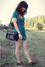 Dark-green-polka-dot-dress-black-bag-dark-brown-vintage-belt
