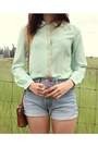 Aquamarine-studded-jovonna-london-blouse-light-blue-high-waisted-lucky-shorts