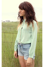 Light-blue-high-waisted-lucky-shorts-aquamarine-studded-jovonna-london-blouse