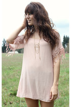 gold necklace - light pink Akira dress