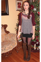 adrienne vittadini boots - free people sweater - lia sophia necklace