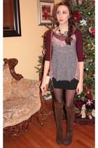 adrienne vittadini boots - free people sweater - lia sophia necklace