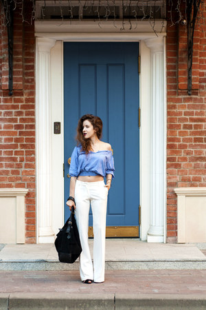 white Sisley pants - black next bag - sky blue Zara blouse