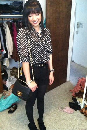 Forever 21 top - sam edelman boots - Nordstrom tights - H&M shorts - Jcrew belt