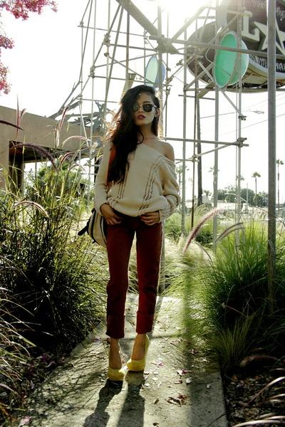 pink jumper shopthecaravan sweater - American Apparel pants - asos pumps