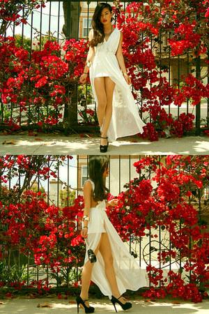 Chanel bag - side slit dress hard couture dress