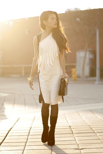 velvet boots Alexander Wang boots - sachin  babi dress - bronzallure ring
